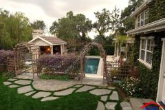 traditional landscape yard with trellis fence And Lap pool I G IS19rgzf9q1zp2b D7i A