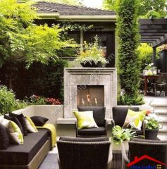 contemporary patio with trellis And fireplace I G IS9lqf16l2yecv0000000000  DEj7